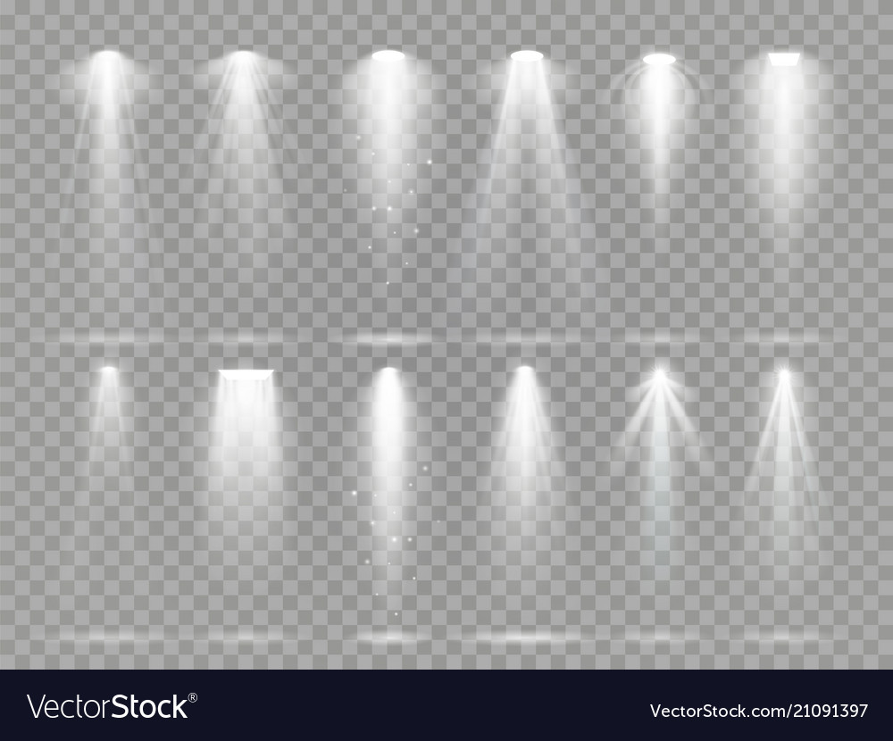 Bright lighting projector beams on theater stage vector image
