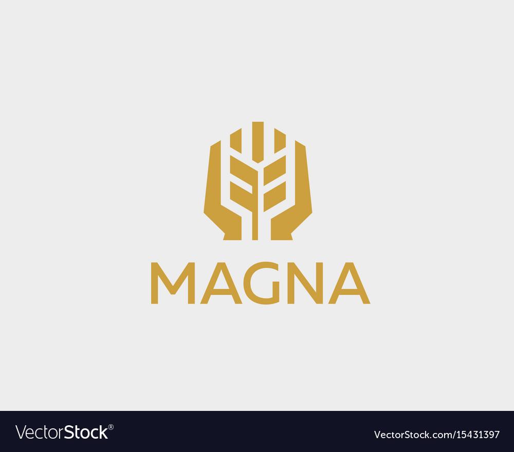 Ear logotype grain wheat with hands logo