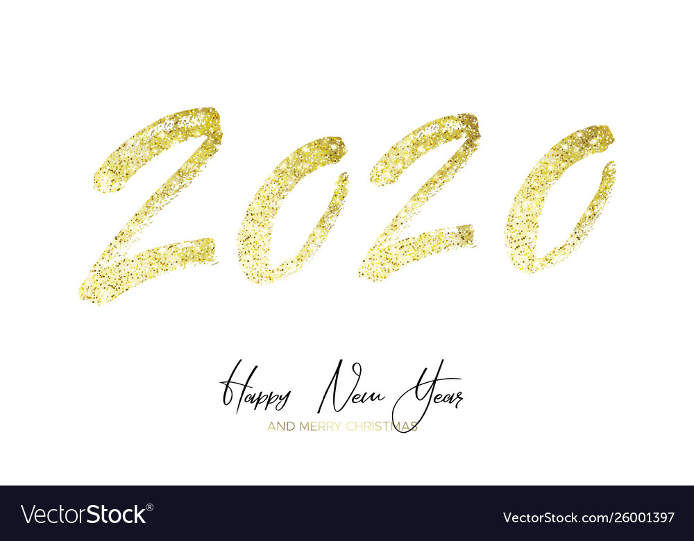 Happy new year 2020 with golden glitter
