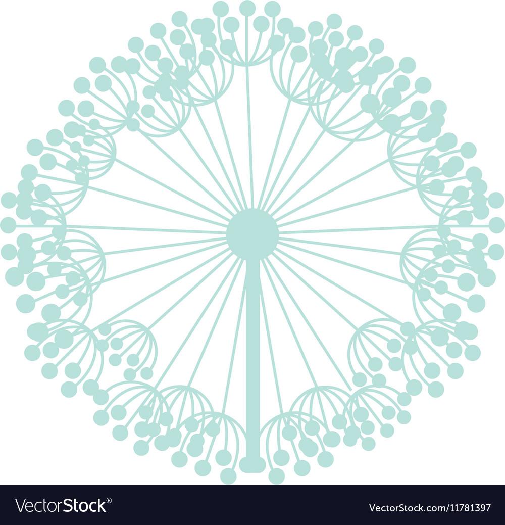 Pastel blue silhouette dandelion with pistils