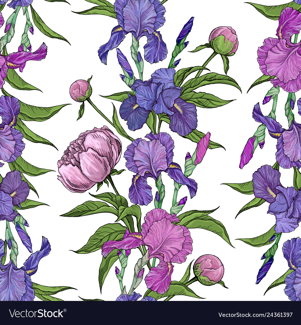 Seamless pattern flowers peonies and irises