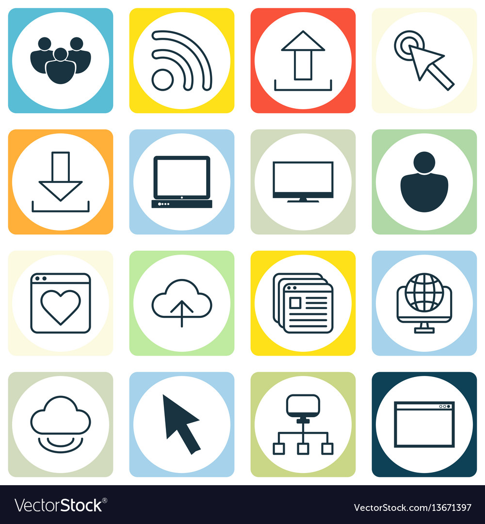 Set of 16 world wide web icons includes data