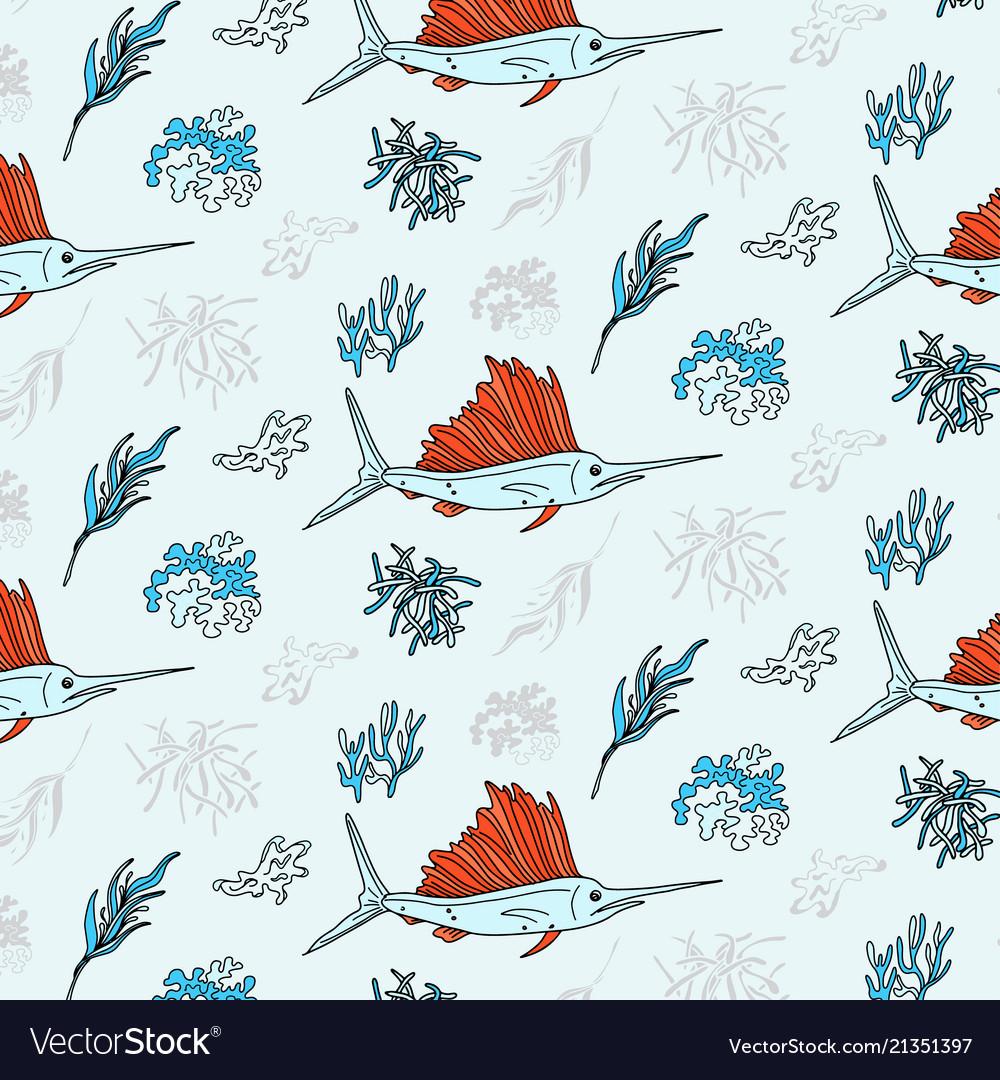 Swordfish and seaweed contrast textile print
