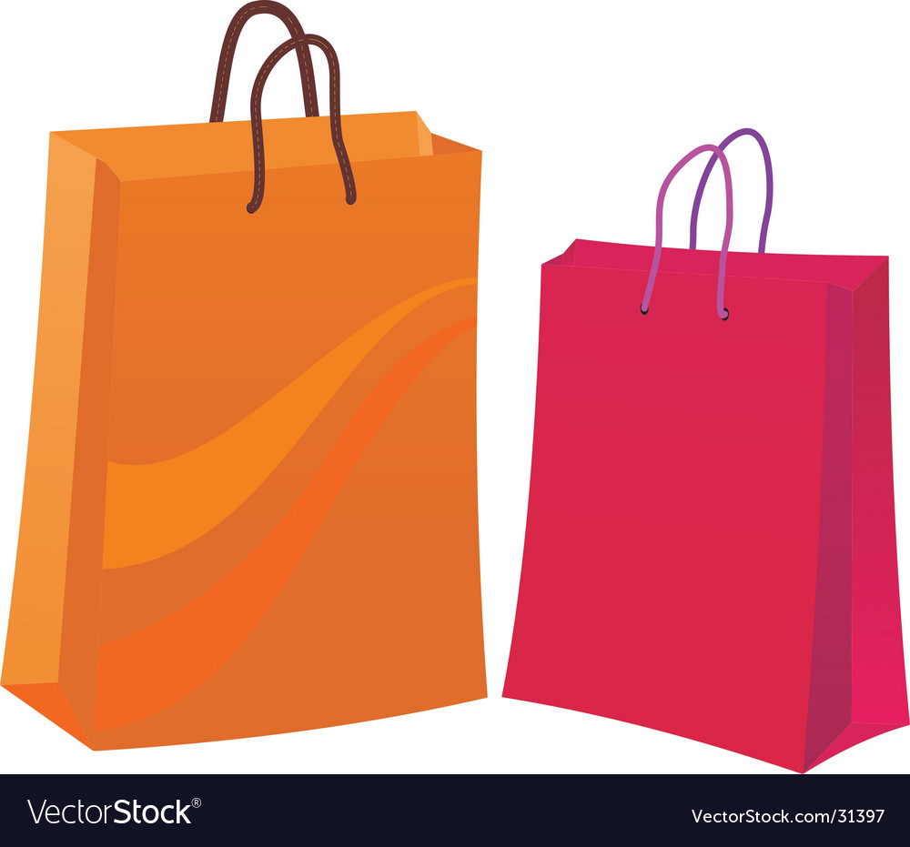 two shopping bags royalty free vector image vectorstock rh vectorstock com shopping bag vector template shopping bag vector free