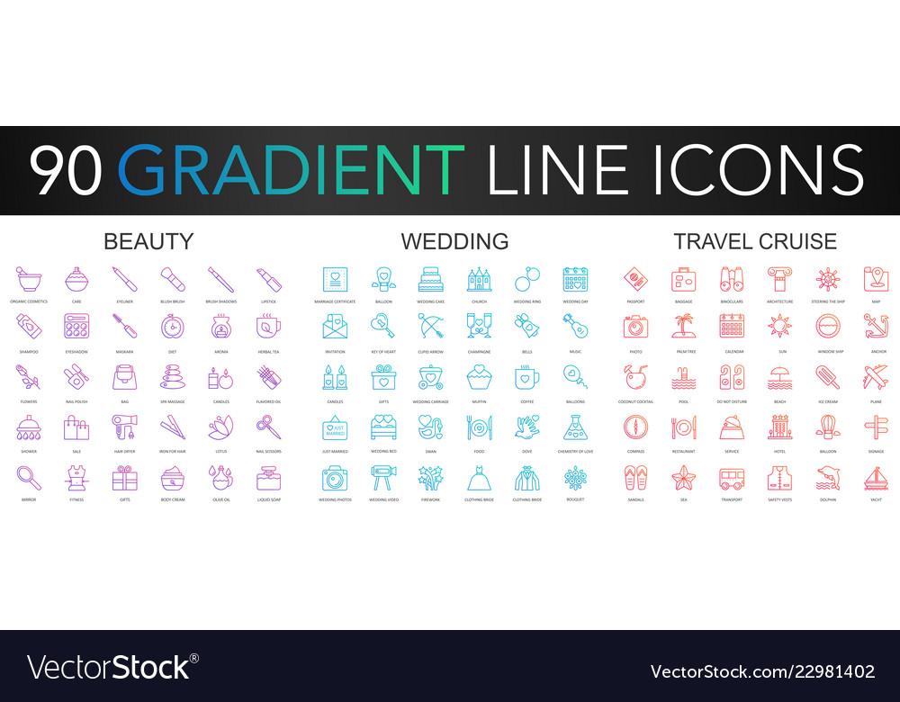 120 trendy gradient thin line icons set of