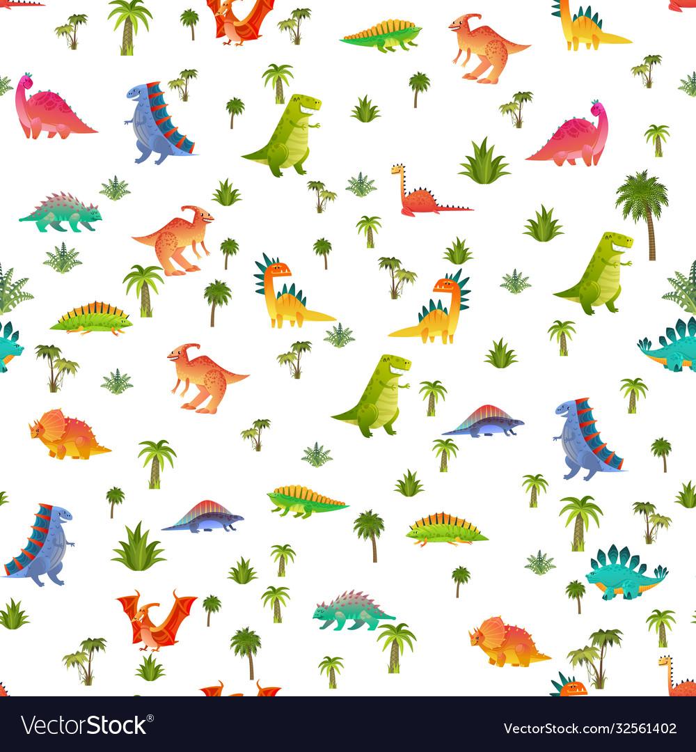Baby dino seamless pattern animal dragon
