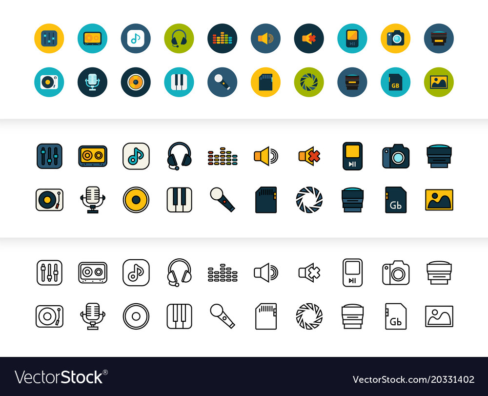 Black and color outline icons thin stroke line