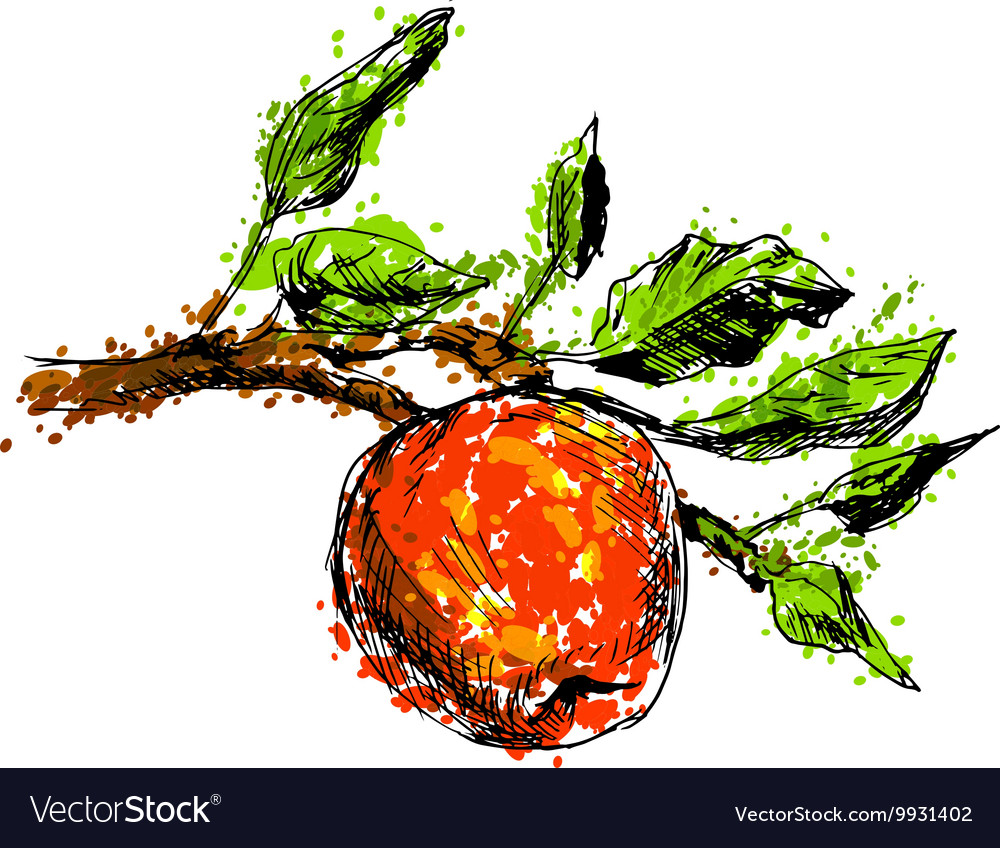 Colored Hand drawing an apple