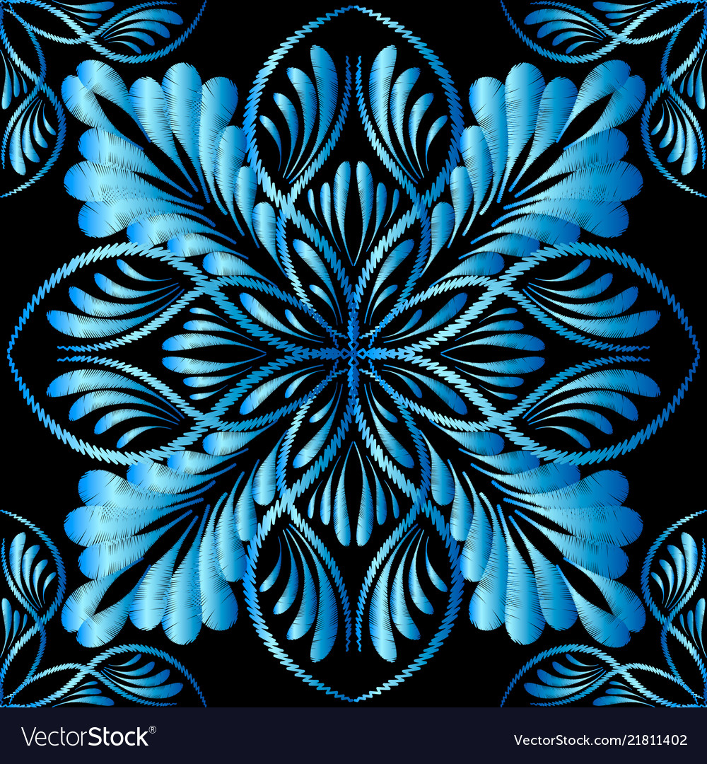 Embroidery blue floral seamless pattern tapestry