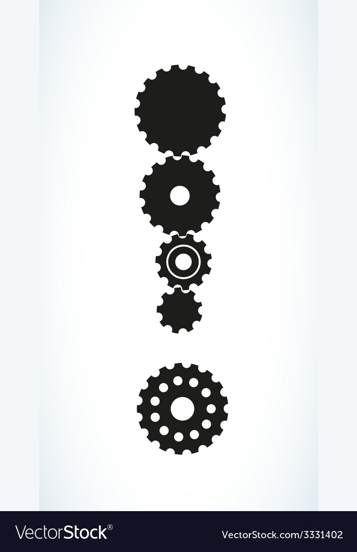 Exclamation mark created from cog wheels