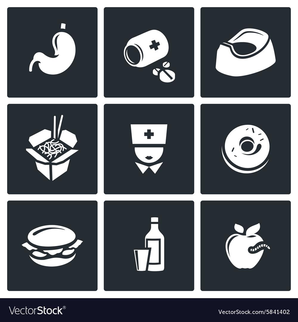 Food poisoning icons set
