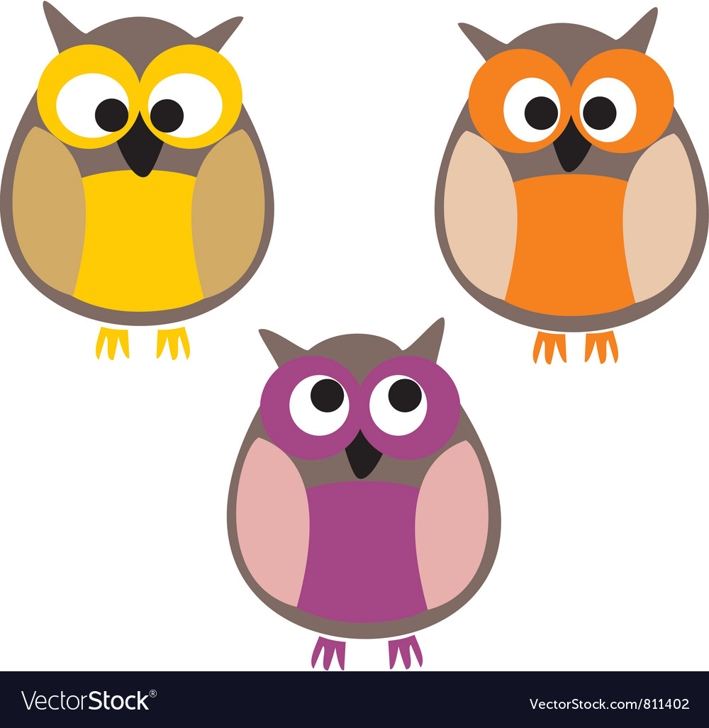 Funny colorful owls
