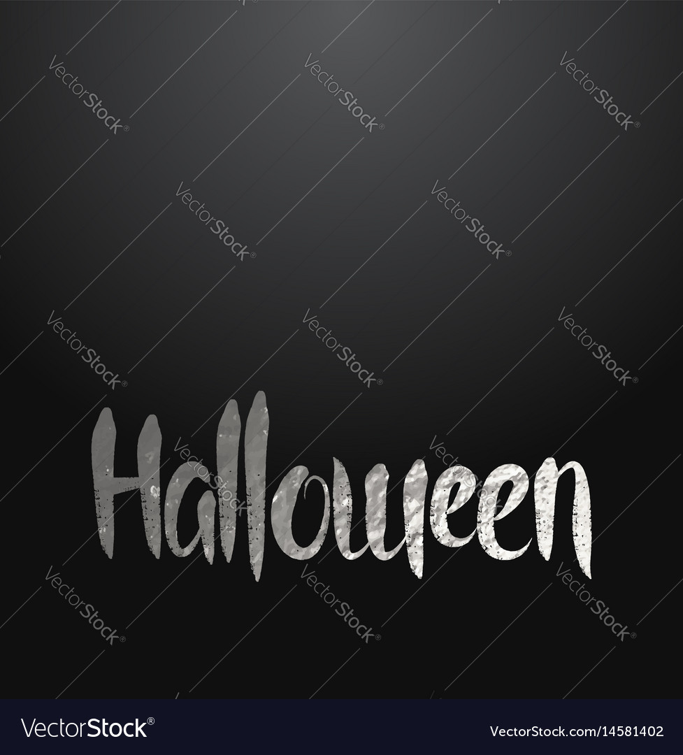 Halloween card with silver lettering vector image