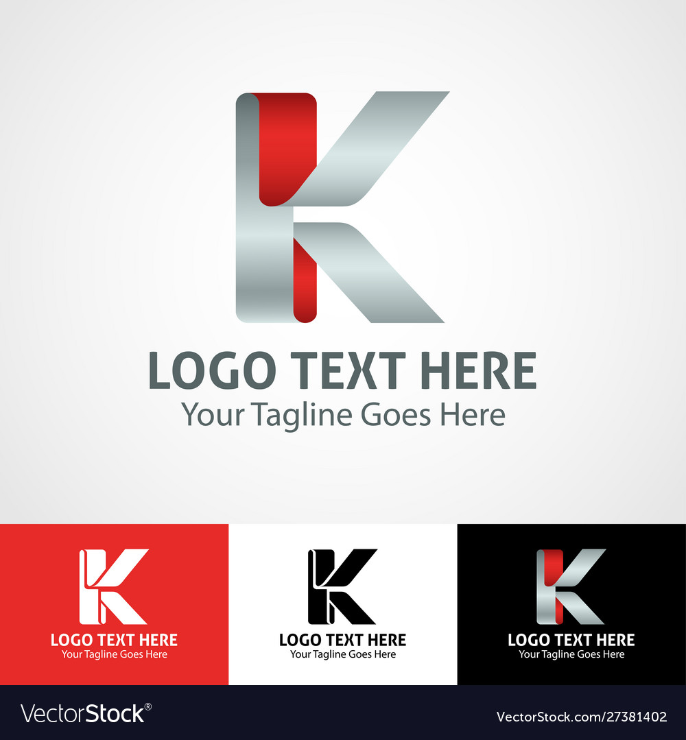Hi-tech trendy initial icon logo k
