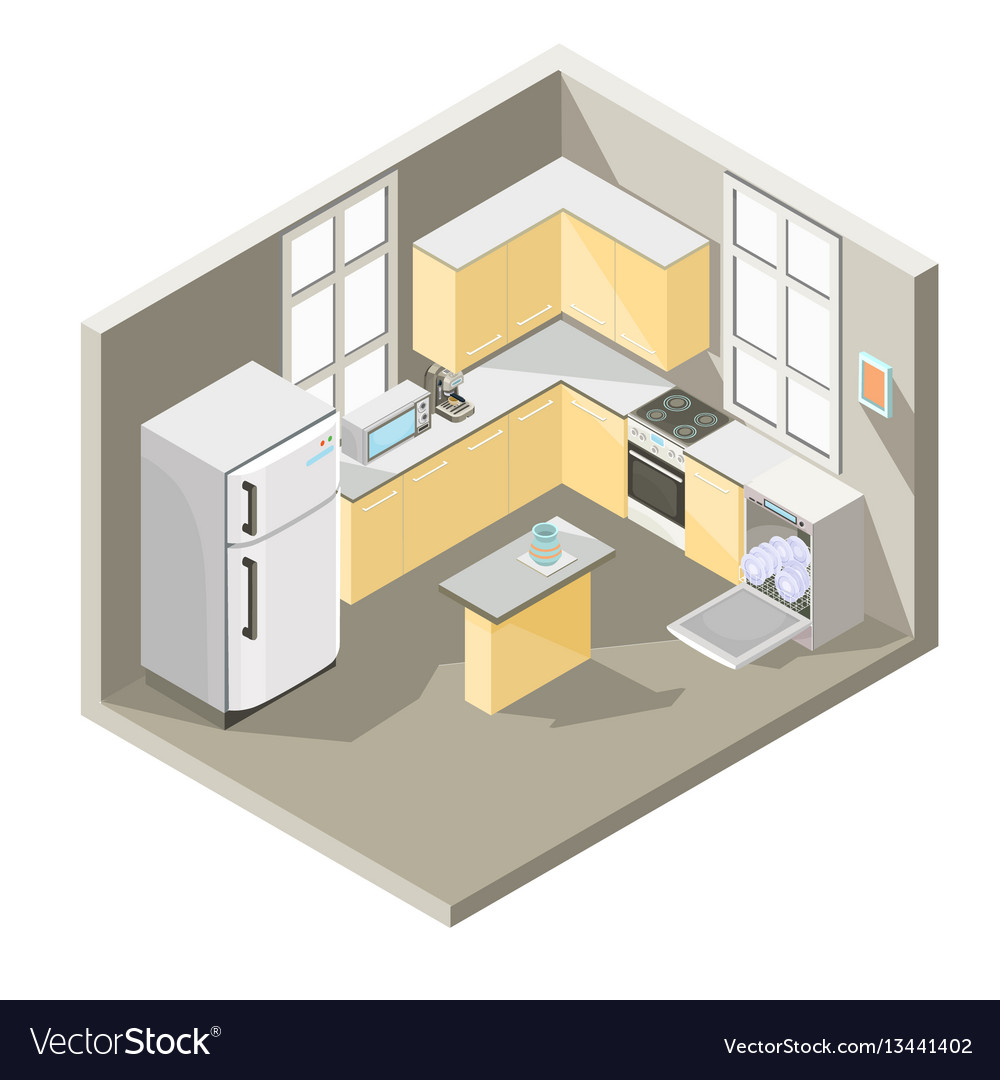 Isometric design of a kitchen Royalty Free Vector Image