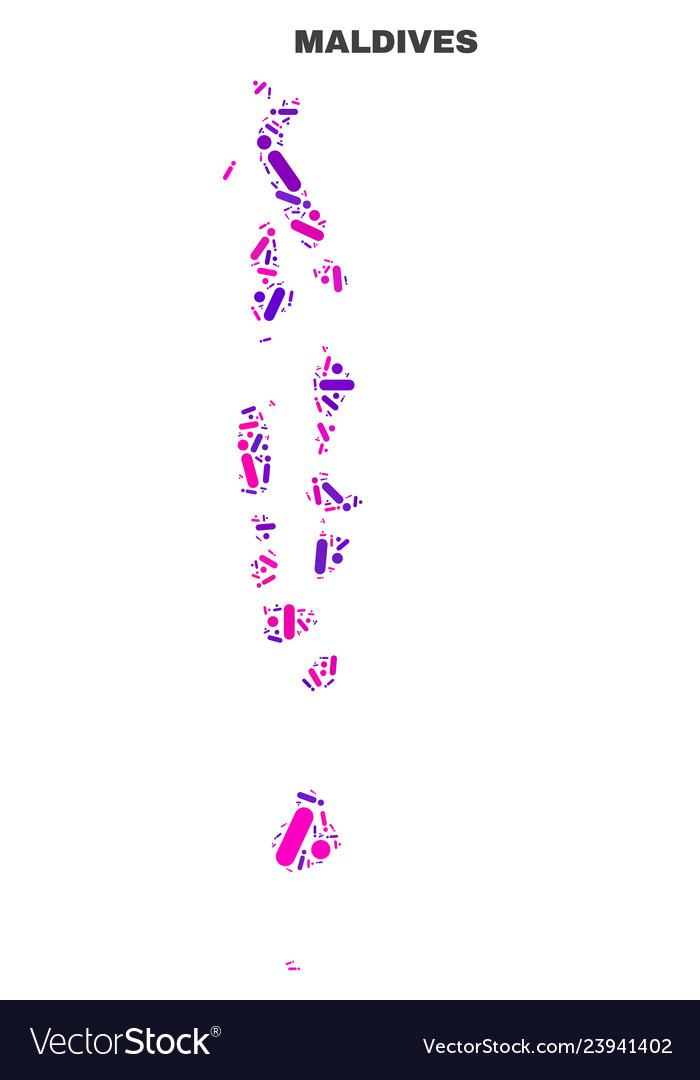 Mosaic maldives map of dots and lines Royalty Free Vector