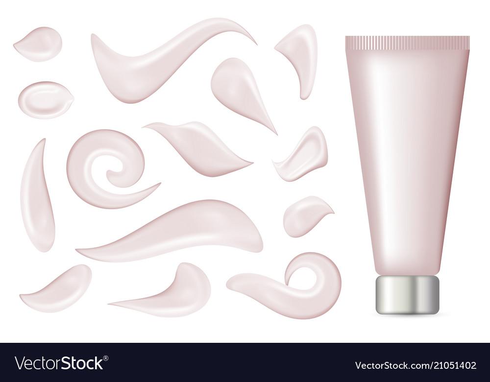 Realistic cream strokes isolated