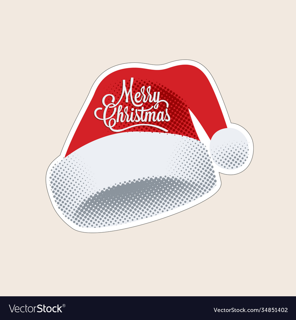 Red santa hat with merry christmas lettering