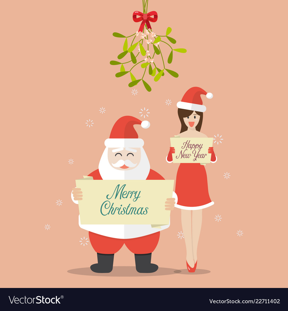 Santa claus and santa girl are holding christmas