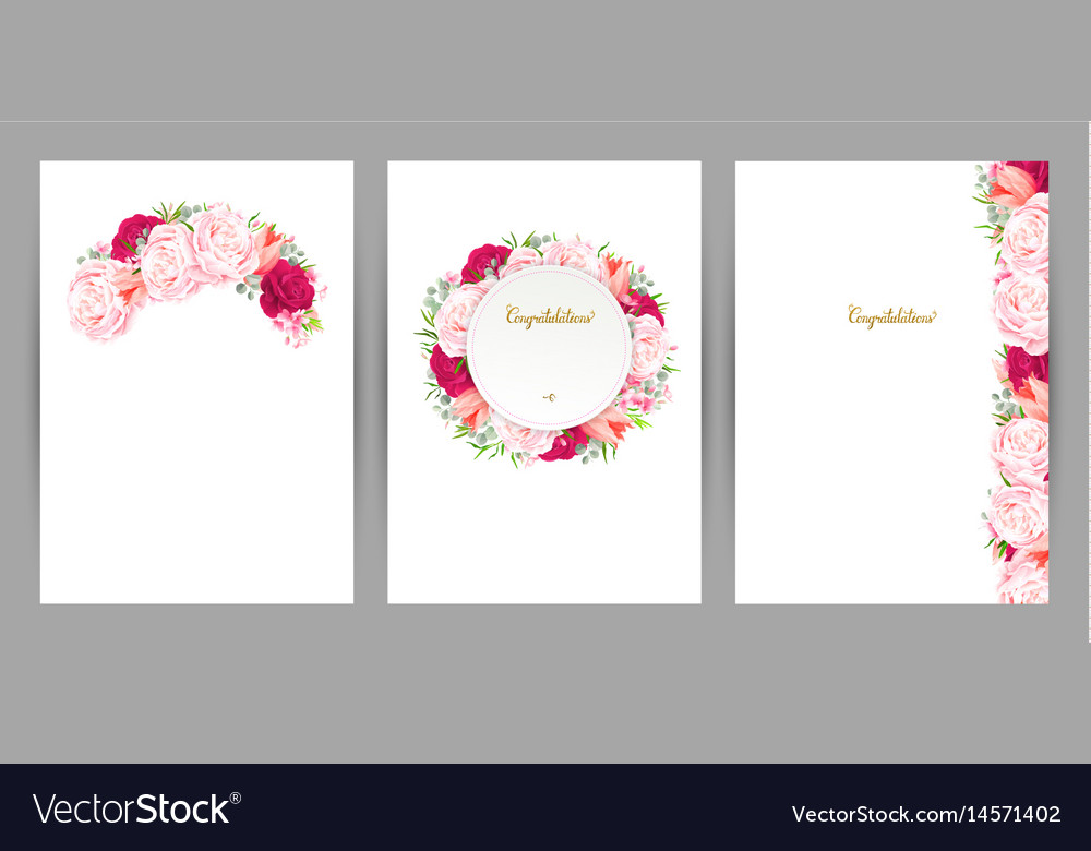 Set of three congratulation cards with flower