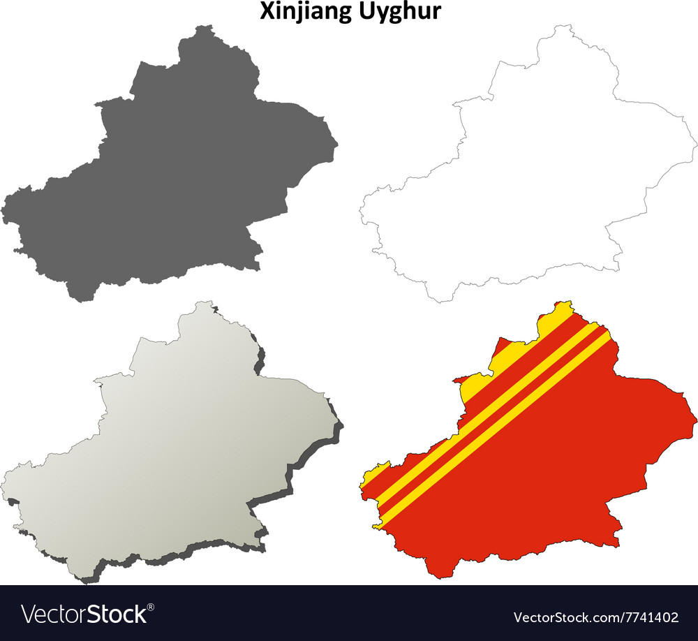 Map Xinjiang.Xinjiang Uyghur Outline Map Set Chinese Version