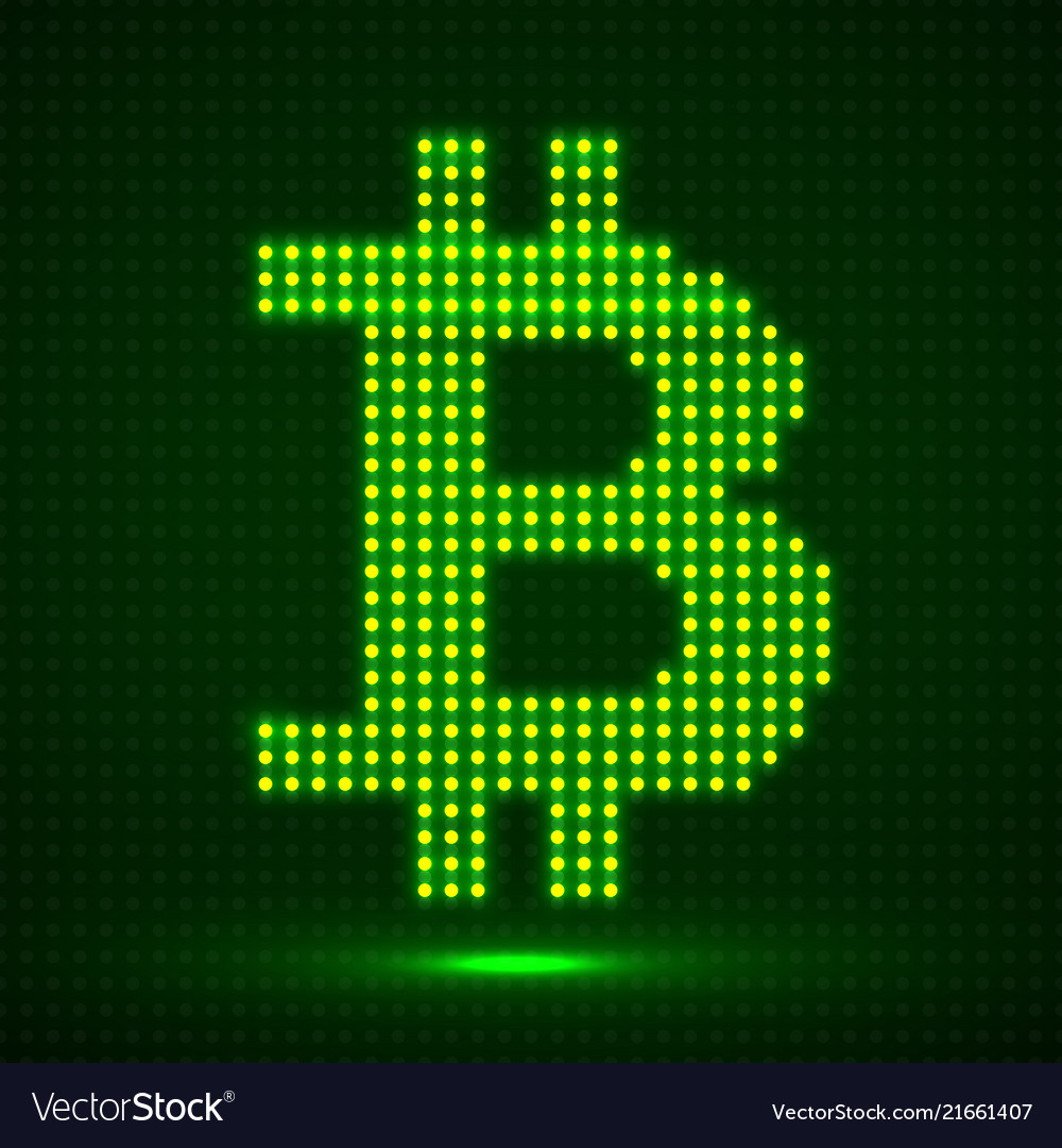 Abstract neon sign bitcoin of dots