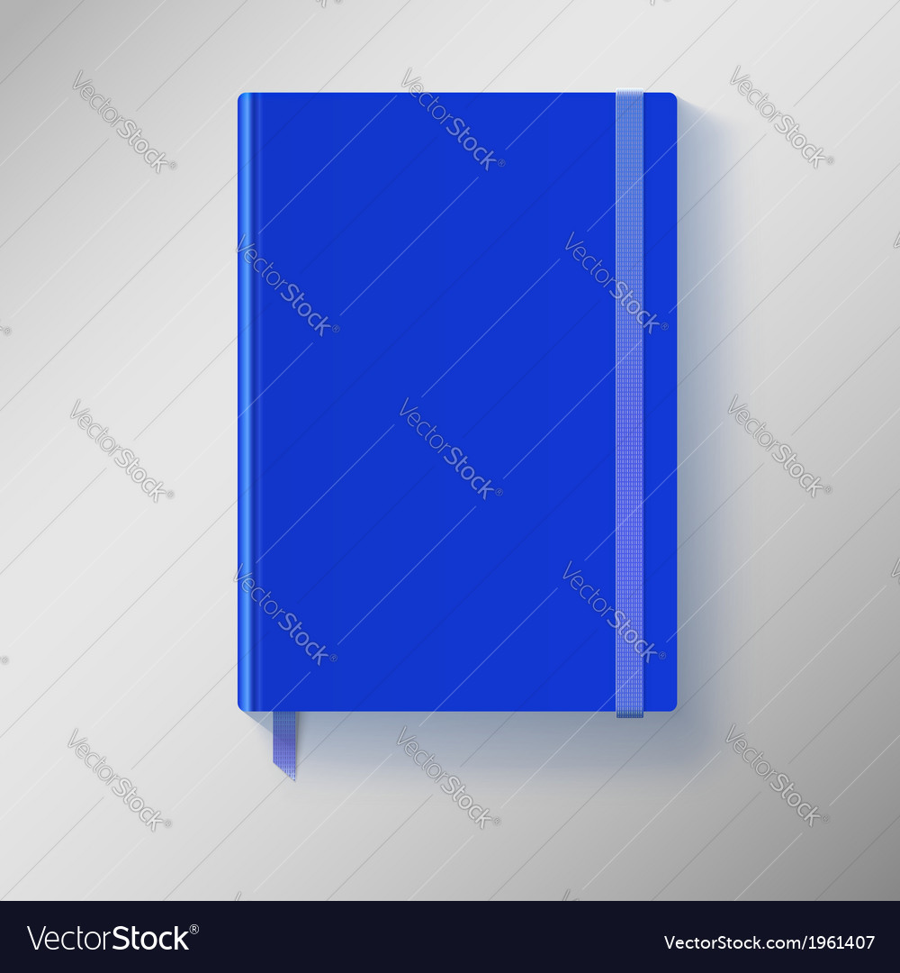 Blue copybook with elastic band and bookmark