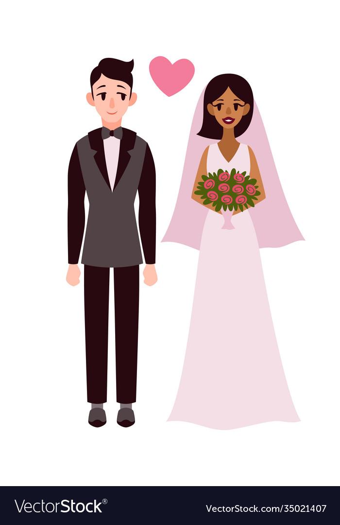 Bride and groom happy romantic multiethnic couple