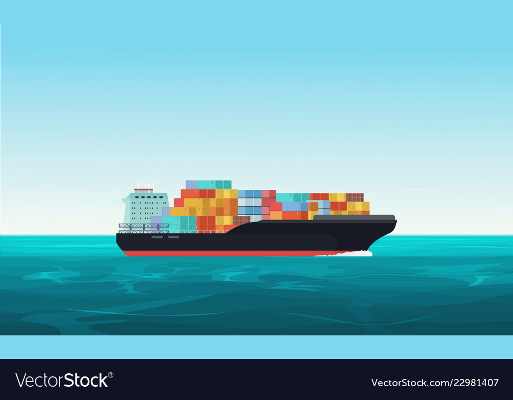 Cargo transportation ship with containers in the