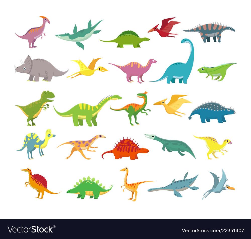 Cartoon dinosaurs baby dino prehistoric animals