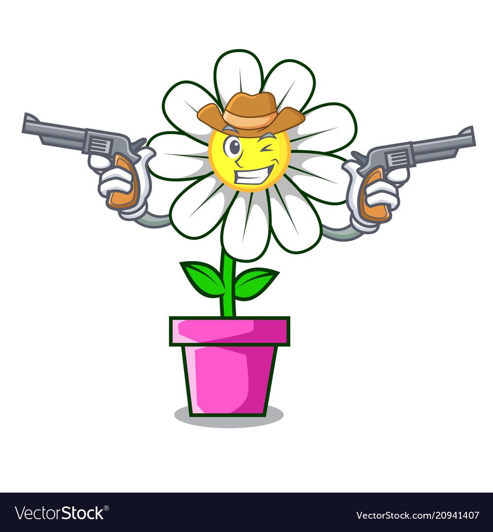 Cowboy daisy flower character cartoon royalty free vector cowboy daisy flower character cartoon vector image izmirmasajfo