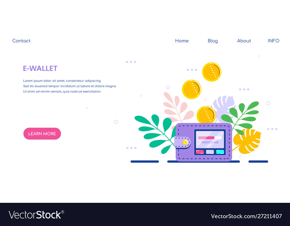 Electronic wallet concept banner flat style