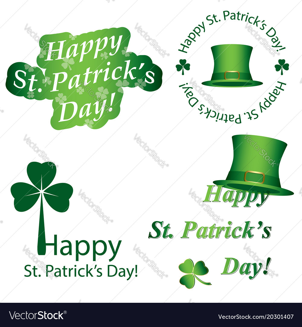 b6385552 Elements for saint patricks day - green stickers Vector Image