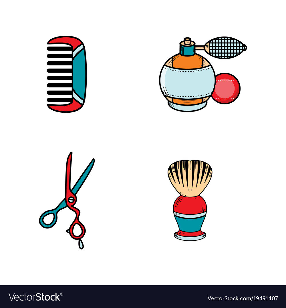 Flat barber shop tools icon