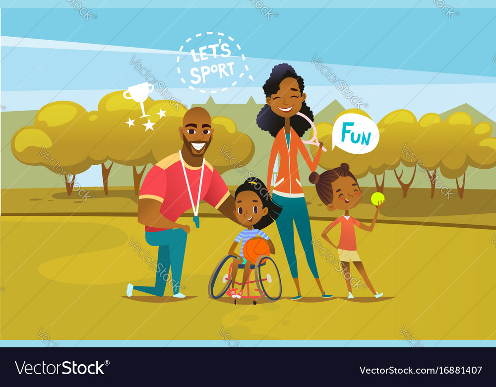 Happy african american family with disabled girl