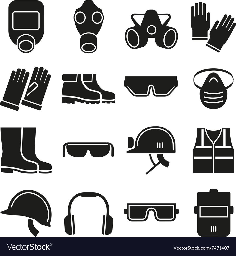 Job safety equipment icons set
