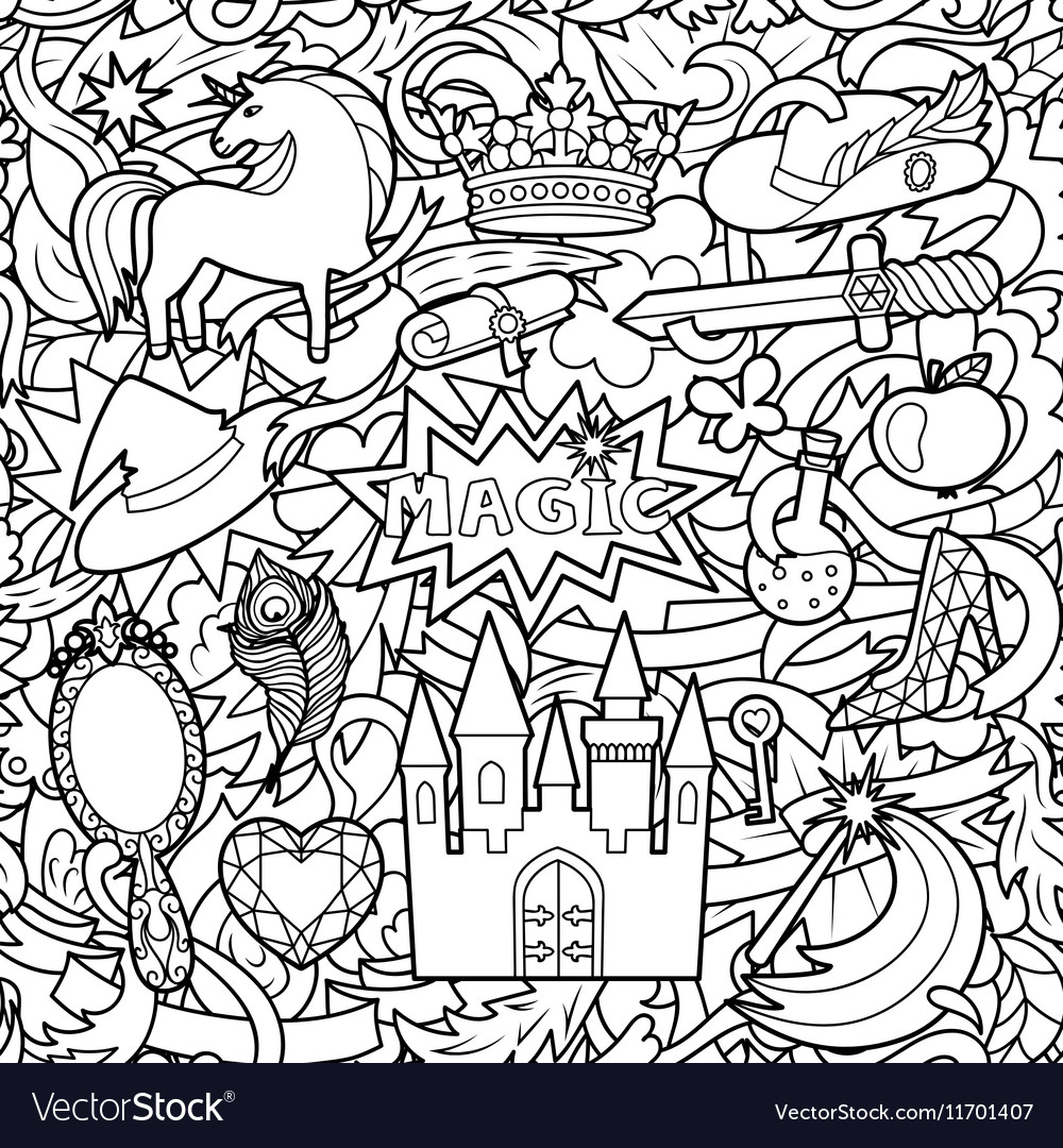 Magic Doodle Seamless Pattern