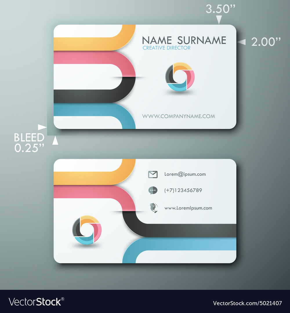 Modern simple light business card template with