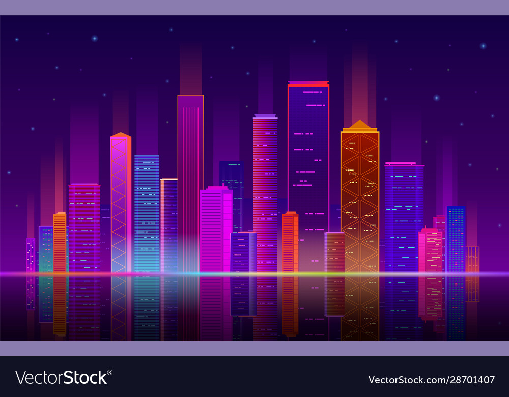 Night city building with neon light future