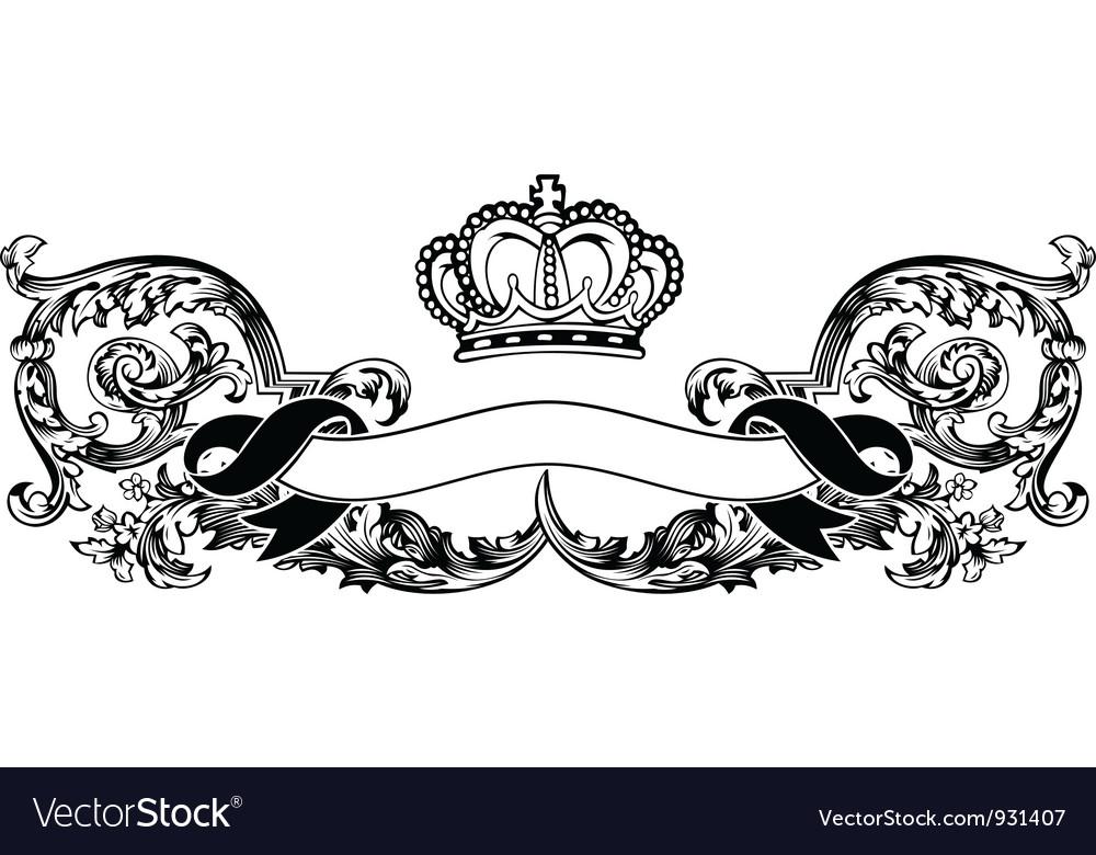 One Color Royal Crown Vintage Curves Banner vector image