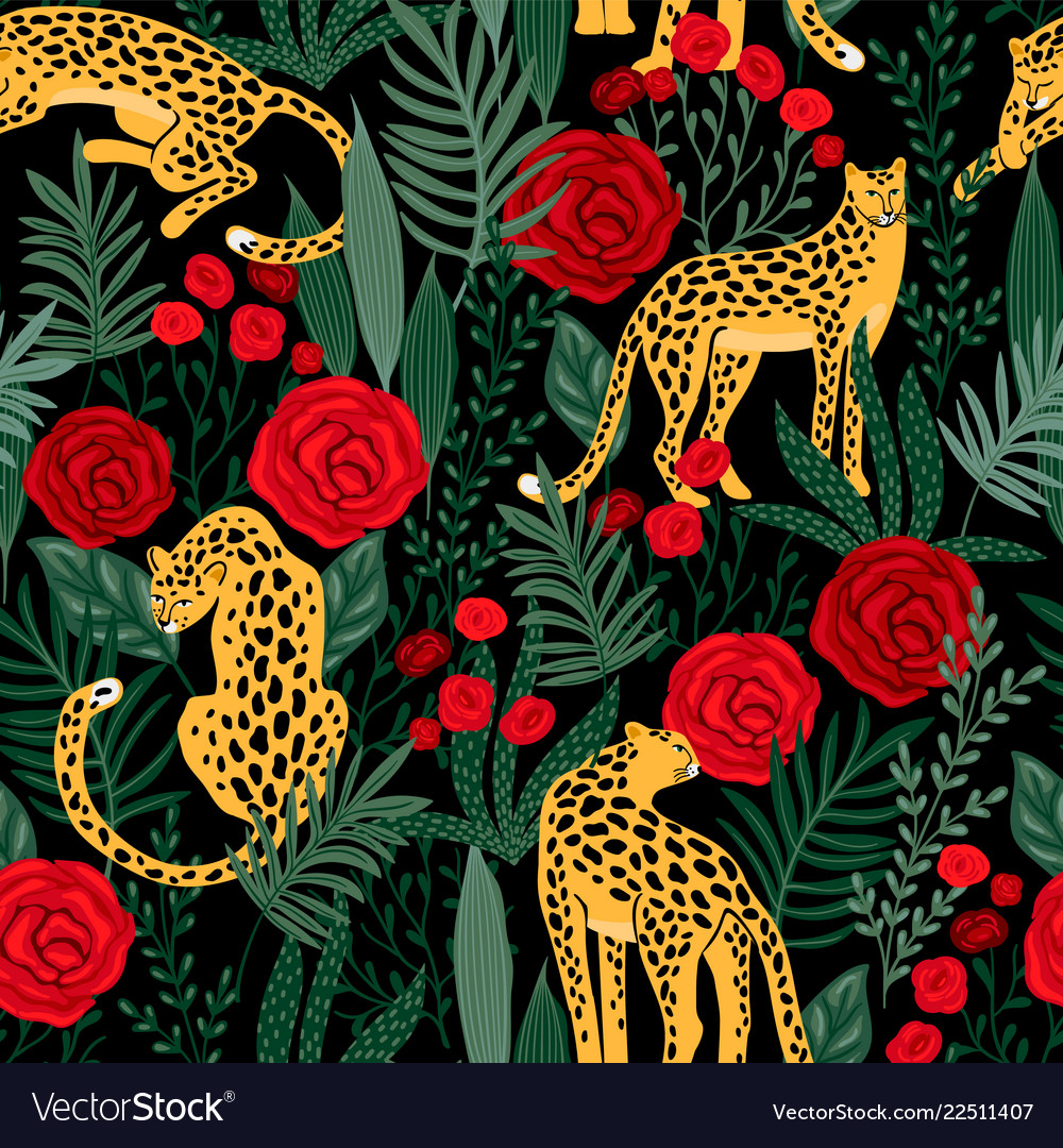 Seamless pattern with leopards and roses