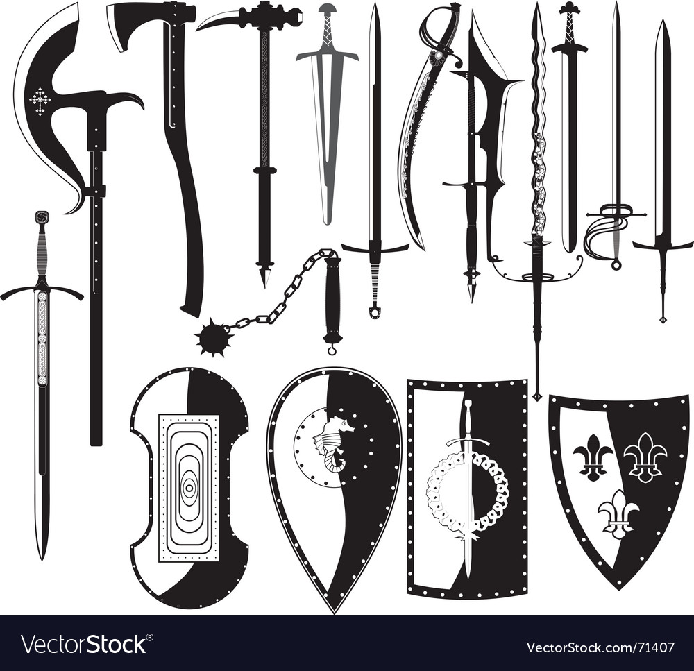 Silhouettes of weapons vector image