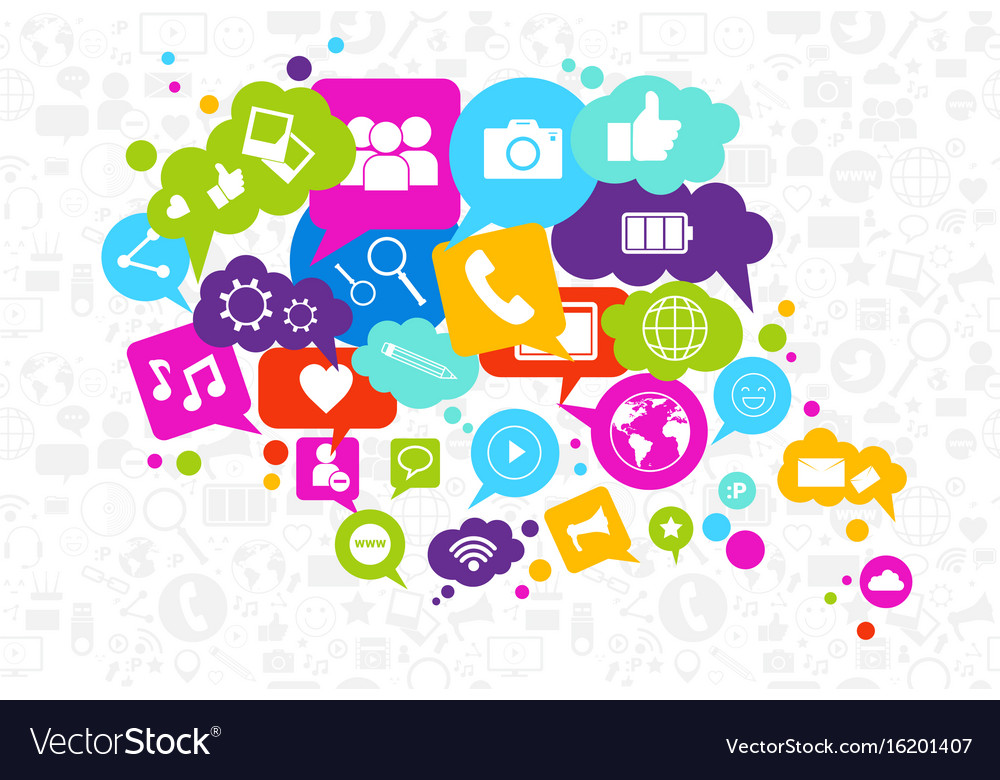 social media icons chat bubble on white background