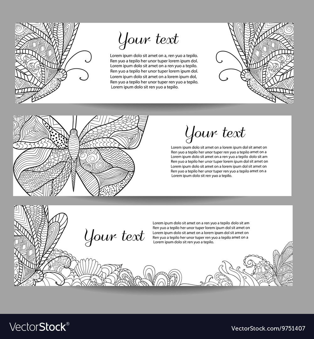Three banners with beautiful monochrome
