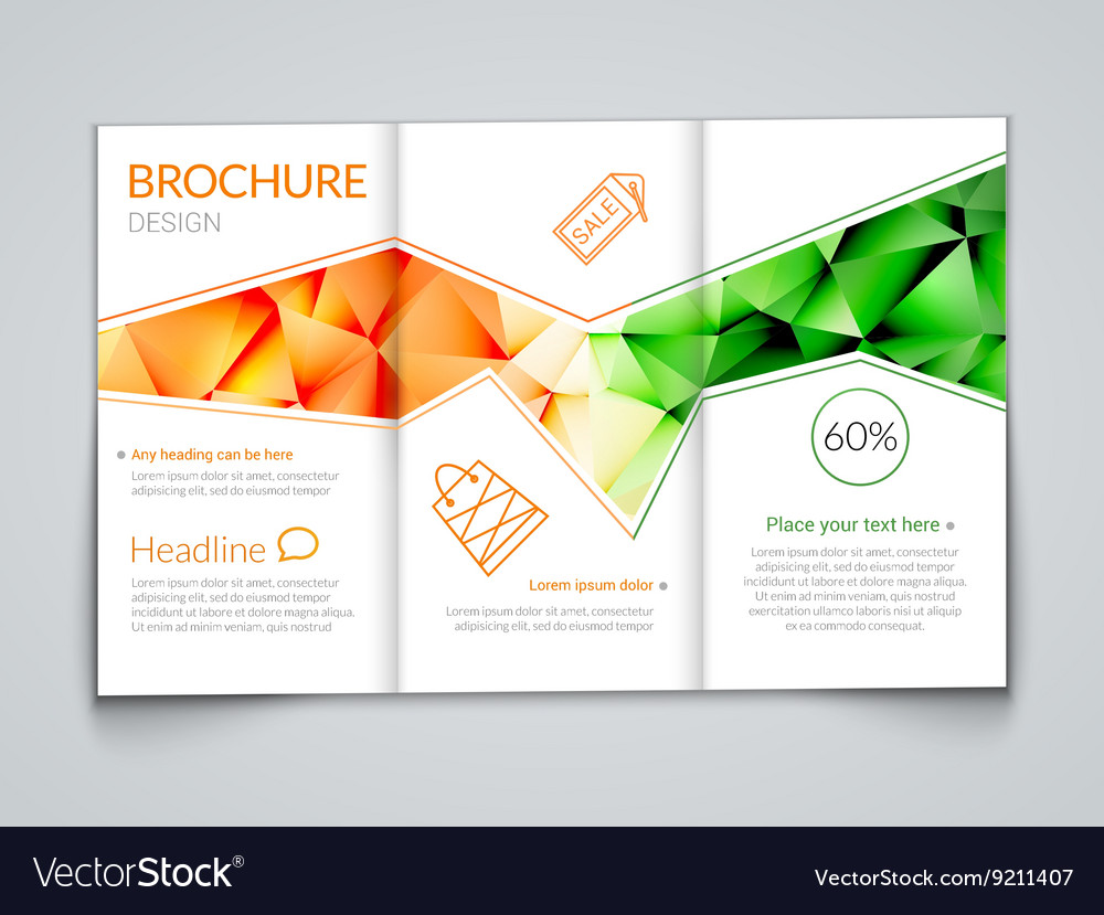 tri fold modern brochure design template with vector image