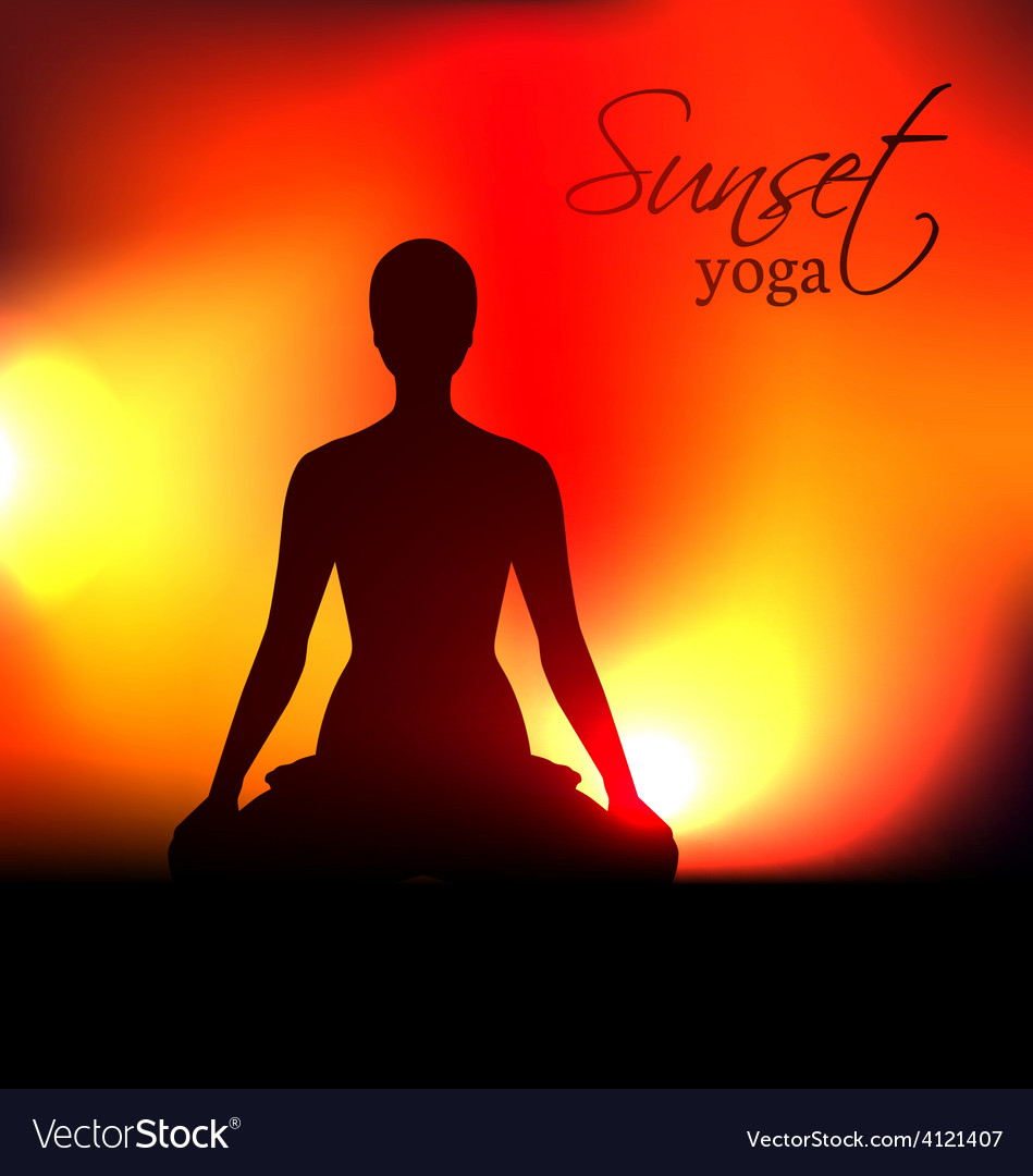 Yoga woman silhouette at sunset