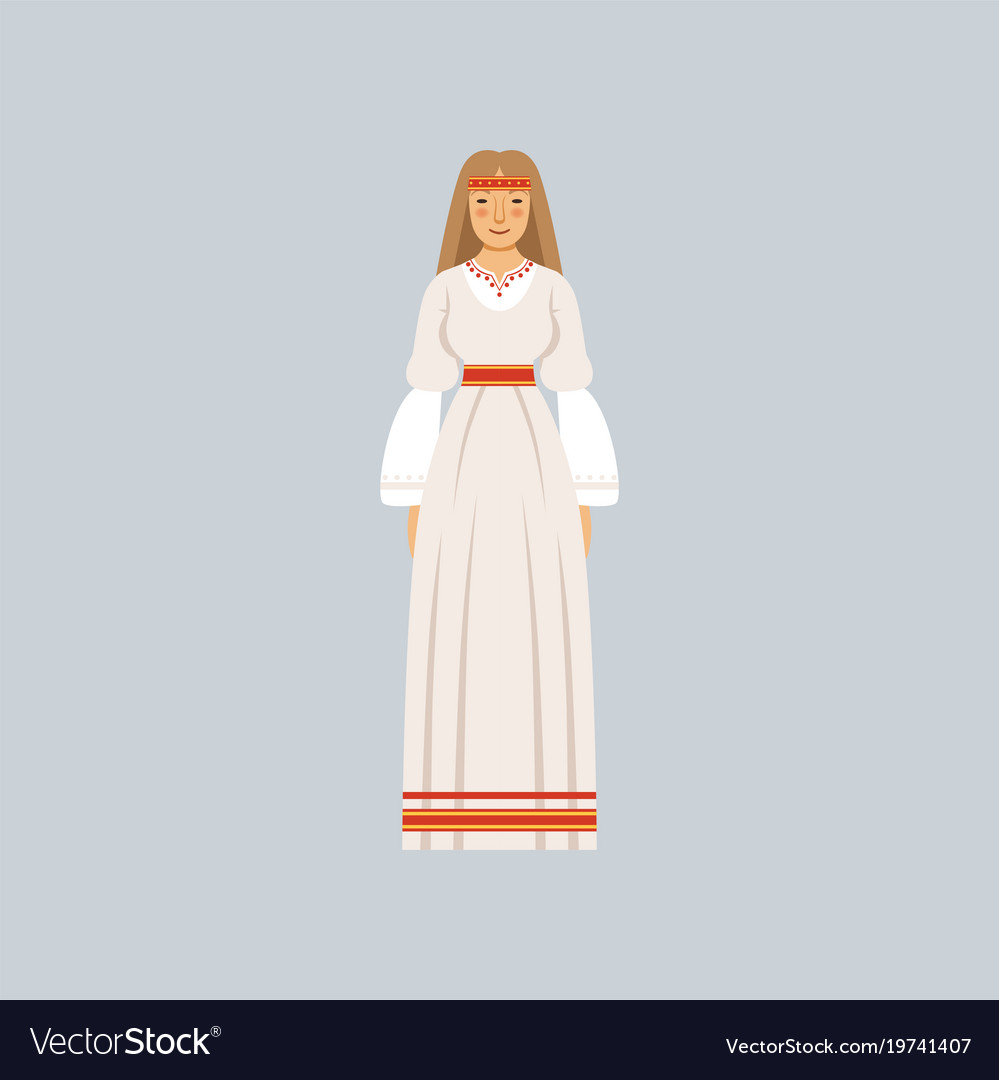 Young woman in traditional slavic or pagan costume