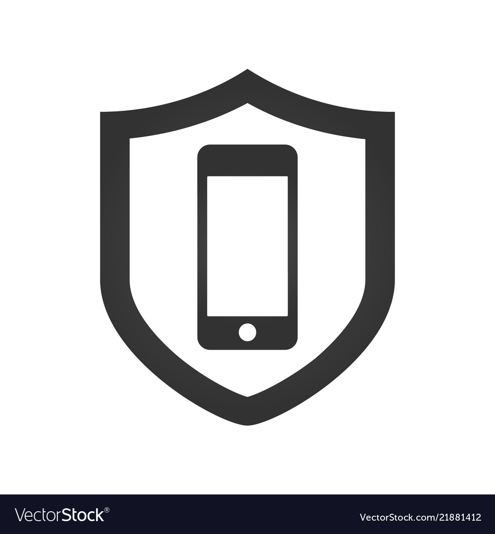 A shield icon with a smartphone