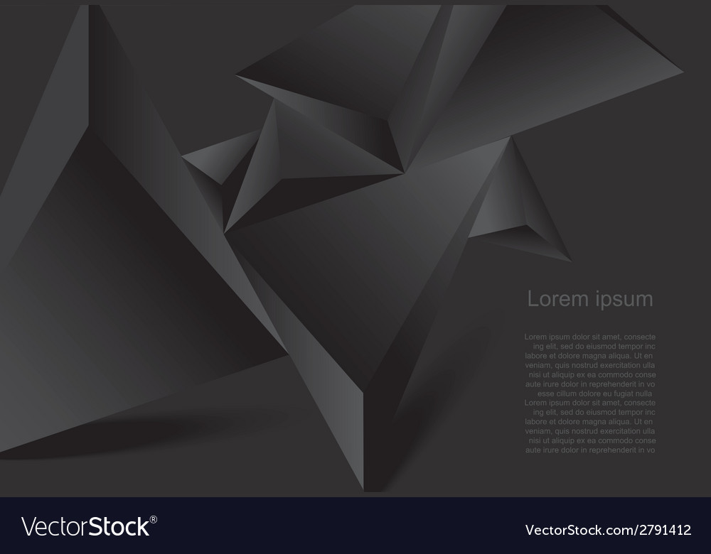 Abstract black background geometrical polygonal fo