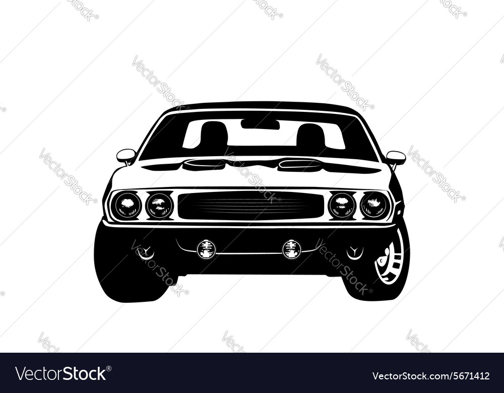 American Muscle Car Legend Silhouette Royalty Free Vector